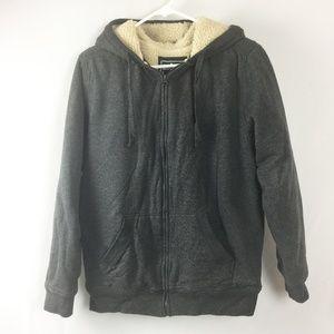 Grey Zip-Up Hoody Sweater Sherpa Fur Lining Size L